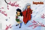 Обои Kagome Higurashi и демон Inuyasha любуются на цветущую сакуру из аниме Инуяша / InuYasha, by Rumiko Takahashi