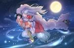Обои Демон Sesshomaru / Сесшомару несет на руках Rin на фоне ночного неба и полной Луны, за ними увязался Jaken, из аниме InuYasha / Инуяша