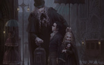 Обои Семья вампиров на улице города, арт по игре Bloodborne / Порождение крови