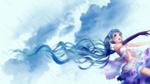 Обои Девушка с длинными голубыми волосами в платье стоит под дождем, by sanoboss