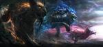 Обои Гигантские фэнтезийные животные, горящие магическим пламенем разного цвета, by Jonas De Ro