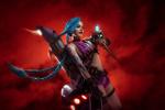 Обои Косплей-модель Christina Fink в образе Jinx / Джинкс из игры Лига Легенд / League of Legends, by Aku