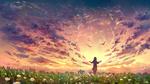 Обои Девушка стоит в траве среди цветов под закатным небом