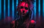 Обои Косплей-модель Alena German в образе Neon Witch / Неоновой Ведьмы из одноименного проекта, by Aku