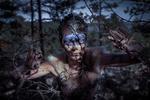Обои Косплей-модель Anna Ormeli Moleva в образе воительницы Senua / Сенуи из игры Hellblade: Senua's Sacrifice, by Aku