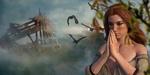 Обои Девушка с молитвенно сложенными руками на размытом фоне вороньей стаи и руин, by Mystic Art Design