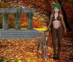 Обои Нимфа с олененком в осеннем парке, by Majabel Creacione