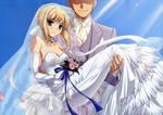 Обои Saber / Сабер в свадебном платье с букетом на руках у жениха из аниме Fate / stay night / Судьба: Ночь Прибытия