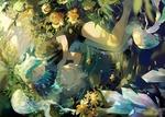 Обои Phosphophyllite / Фосфофиллита с закрытыми глазами лежит в воде среди медуз, цветов и кристаллов из аниме Houseki no Kuni / Страна самоцветов