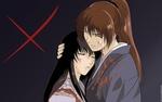 Обои Раненный Химура Кеншин / Himura Kenshin обнимает подругу из аниме Самурай Х / Samurai Х / Бродяга Кеншин / Tramp Kenshin, by Atsuko Nakojima