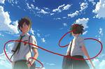 Обои Taki Tachibana / Таки Тачибана и Mitsuha Miyamizu / Мицуха Миямизу из аниме Kimi no Na wa / Твое имя, by AkmarMohamed