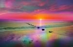 Обои Морской берег в радужных красках во время заката