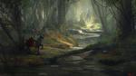Обои Рыцарь на коне в лесу, by Alejandro Olmedo