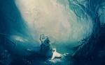 Обои Странник с посохом встретил в лесу маленького белого дракона, art by Marina Petrova
