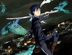 Обои Yato / Ято с катаной на фоне ночного города из аниме Noragami / Бездомный бог