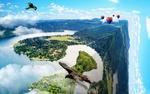 Обои Птицы и воздушные шары над фрагментом пейзажа, висящем в облачном небе, фотошоп, by Рacolix