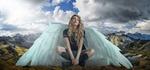 Обои Крылатая девушка на фоне облачного неба и гор, by Enrique Meseguer