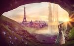 Обои Танцующая в пещере среди светящихся бабочек девушка, фрагменты городского пейзажа на заднем плане, фантасмагория, by Heather Boyajian