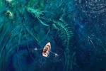 Обои Рыбак в лодке проплывает над скелетом огромного крылатого дракон лежащего на дне моря, by Sntefan Koidl
