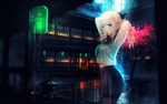 Обои Светловолосая девушка стоит на фоне дождя, дома и сакуры, by Artezal