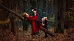 Обои Девушка Anastasia Zhilina читает книгу в лесу