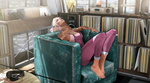 Обои Девушка в наушниках слушает музыку, устроившись в кресле, by Sassypantsw