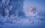 Обои Вид на Новоиерусалимский монастырь февральским утром, фотограф Сергей Давыдов