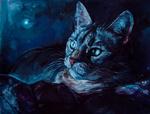 Обои Кошка смотрит в сторону, by LomovtsevaOlga