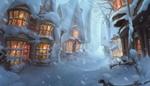 Обои Занесенная снегом улица и домики с освещенными окнами зимним вьюжным вечером, художник Елизавета Лебедева, Winter is coming in Hogsmeade