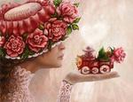 Обои Девушка в шляпе с розами на полях держит на ладони руки игрушечный паровоз с розой на крыше, работа Such Love / Такая любовь, by Vilenchik