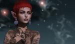 Обои Эльфийка с тату и ушными украшениями на фоне звездного неба, by Inkie Loudwater