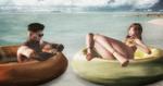 Обои Девушка и парень в резиновых лодках на фоне морского простора, by Tripp Nitely