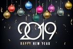 Обои Разноцветные елочные украшения (2019 Happy new year)