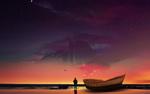 Обои Мужчина стоит рядом с лодкой и смотрит на гору в небе, art by Cala Bassa