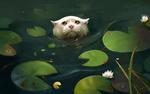 Обои Кошка в воде среди кувшинок, art by SalamanDra-S