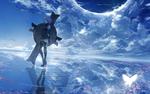Обои Mash Kyrielight / Мэш Кириелайт / Matthew / Мэтью / Mashu / Машу из аниме и онлайн-RPG игры Fate / Grand Order, стоит с щитом в воде, отражающей небо