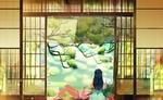Обои Две девушки отдыхают на веранде японского дома, любуясь летним пейзажем