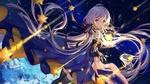 Обои Vocaloid Xingchen / Вокалоид Ксингчен держит сияющую звезду на фоне звездного неба