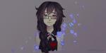 Обои Длинноволосая девушка в очках с сиреневыми цветами, by elfexar