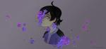 Обои Темноволосый парен с сиреневыми цветами на сером фоне, by elfexar