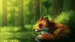 Обои Лиса дремлет под теплыми лучами солнца, by CreeperMan0508