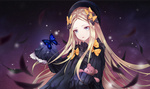 Обои Abigail Williams / Эбигейл Уильямс на фоне ночного неба, персонаж из мобильной онлайн-игры Fate / Grand Order, art by jeyrin52