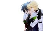 Обои Michaela Hyakuya / Микаэла Хакуя ставший вампиром кусает в шею Yuuichirou Hyakuya / Юичиро Хакуя из аниме Owari no Seraph / Последний Серафим, art by Yamato Yamamoto