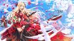 Обои Glorious / Глориус в красивом красном платье с букетом цветов в руке, вокруг нее летают белые голуби и кружатся лепестки роз, персонаж из мобильной браузерной игры Azur Lane, art by swordsouls