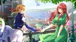 Обои Violet Evergarden / Вайолет Эвергарден протягивает руку Luculia Marlborough / Лукулия Мальборо, персонажи из аниме Violet Evergarden / Вайолет Эвергарден, art by swordsouls