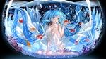 Обои Vocaloid Hatsune Miku / Вокалоид Хацунэ Мику в белом платье сидит в аквариуме с рыбками, art by swordsouls