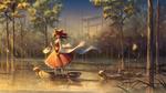Обои Reimu Hakurei / Рейму Хакурей плывет на лодке, рядом с ней переходят вброд несколько оленей, персонаж из серии компьютерных игр Touhou Project / «Проект «Восток»», art by ji dao ji