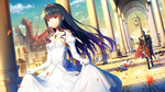 Обои Принцесса в белом платье, за ней идет рыцарь в доспехах с окровавленным мечом в руке, на заднем плане видны павшие воины и убитый дракон, art by ji dao ji