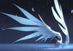 Обои Парень-ангел сидит на зеркальной поверхности на фоне ночного неба с фазами луны, by Arsh