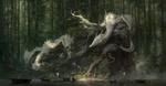 Обои Два белых дракона на огромном дереве смотрят на людей, плывущих в лодках к храму в лесу, by xiaodi jin
